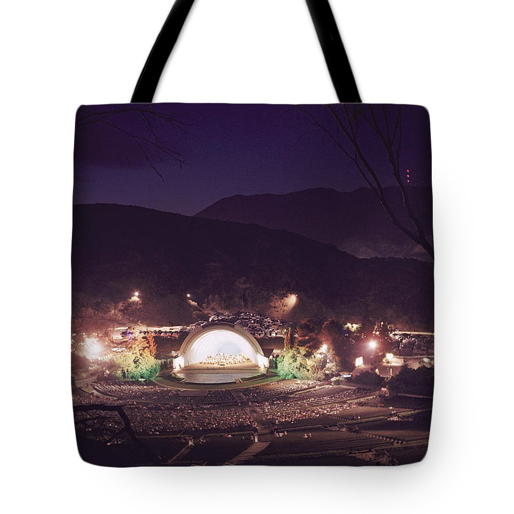 hollywood Bowl Tote Bag featuring the photograph A Night Performance At The Hollywood by B. Anthony Stewart