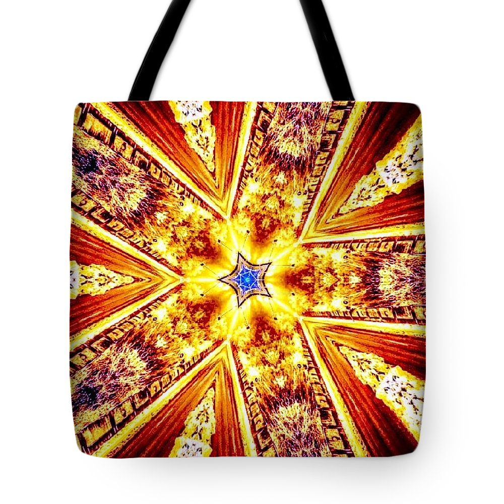 Kaleidoscope Tote Bag featuring the mixed media A Night To Remember by Sascha Angermann