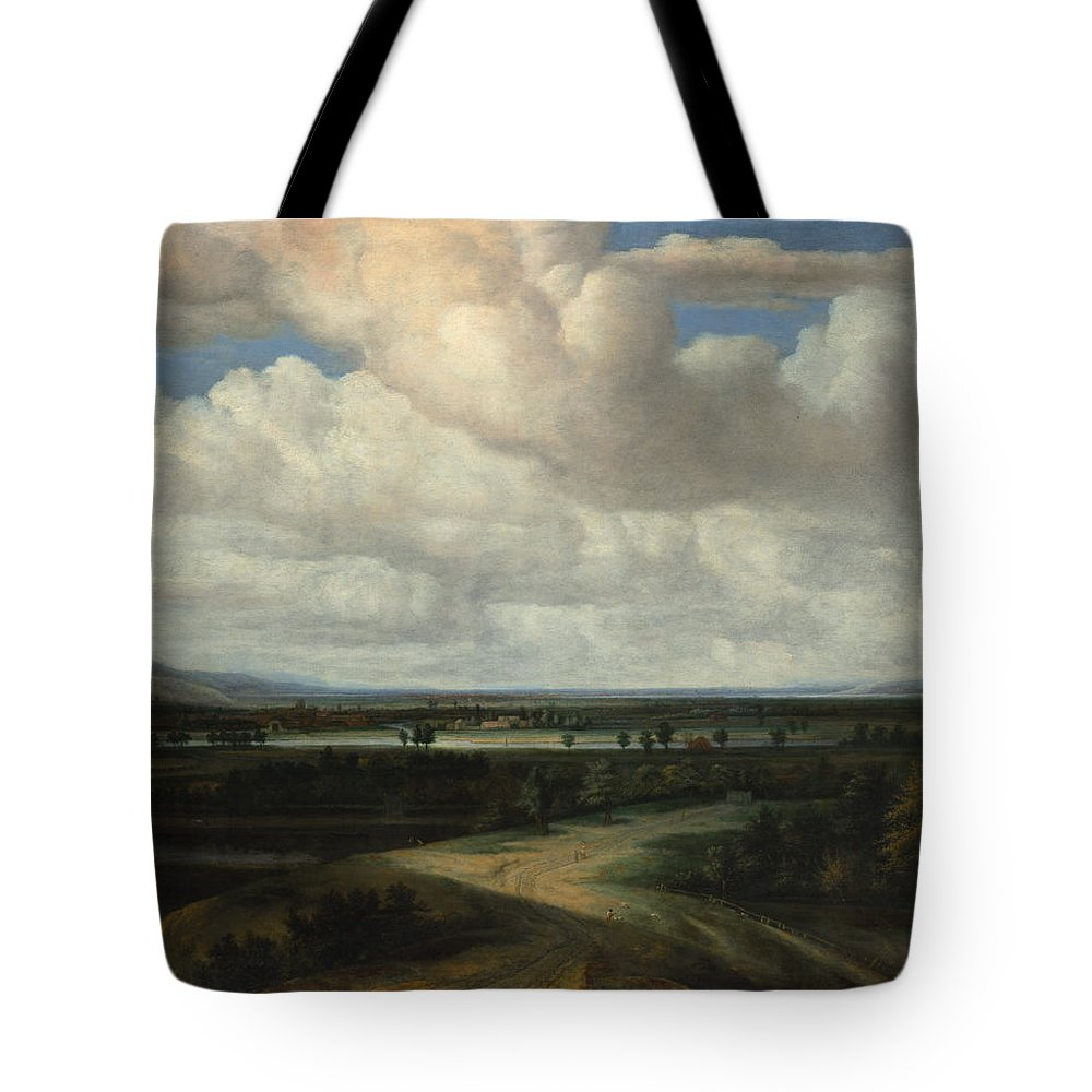 Philips Koninck A Panoramic Landscape With A Country Estate Tote Bag featuring the painting A Panoramic Landscape With A Country Estate by Philips Koninck