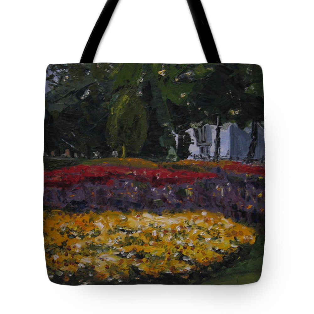 Landscape Tote Bag featuring the painting A Park in Cambrige by Piety Choi