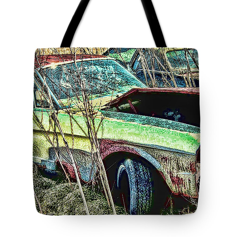 Ford Tote Bag featuring the digital art A Parted Out Mustang by Tommy Anderson