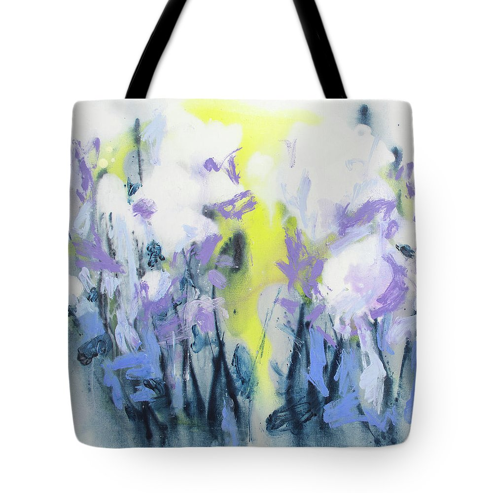 Abstract Tote Bag featuring the painting A Patch Of Purple by Claire Desjardins