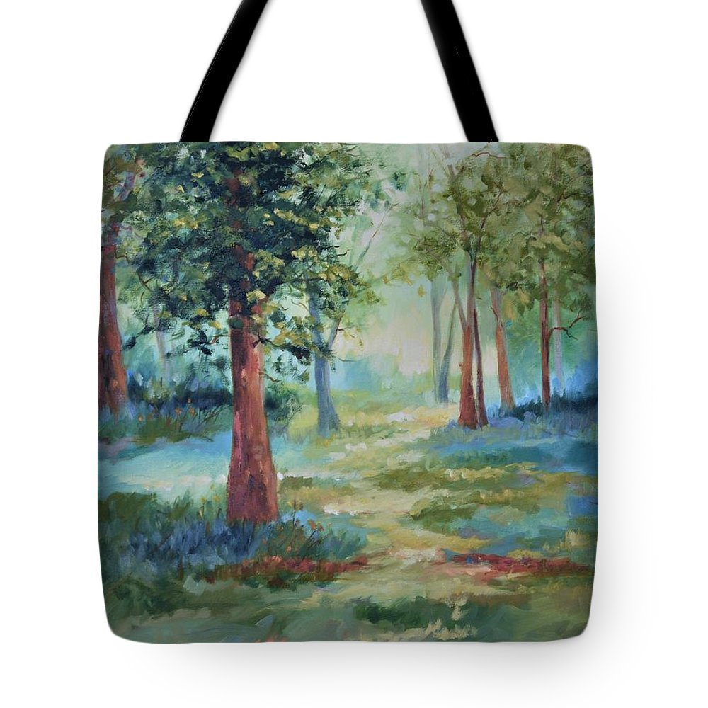 Trees Tote Bag featuring the painting A Path Not Taken by Ginger Concepcion