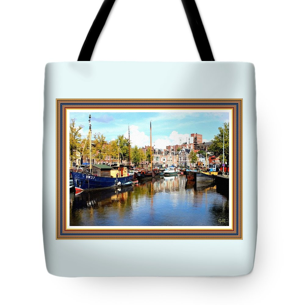 Canal Tote Bag featuring the digital art A Peaceful Canal Scene - The Netherlands L A S With Decorative Ornate Printed Frame. by Gert J Rheeders