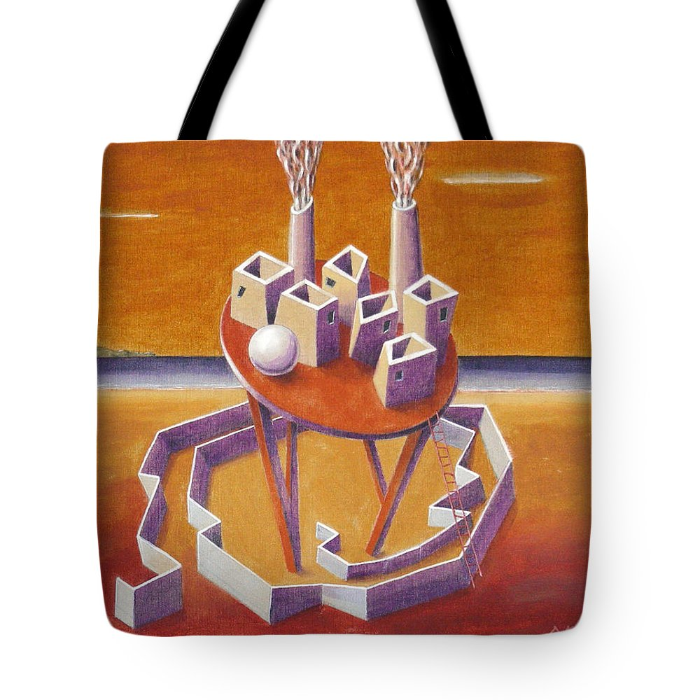 Metaphysical Symbolic Sureal Surrealist Greece Greek Landscape Factory Architecture Seascape Ball Tote Bag featuring the painting A Peasents Dream by Dimitris Milionis