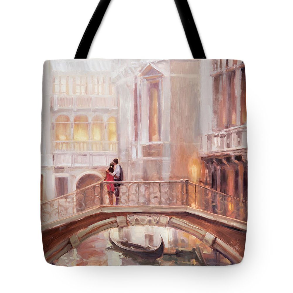 Romantic Tote Bag featuring the painting A Perfect Afternoon In Venice by Steve Henderson