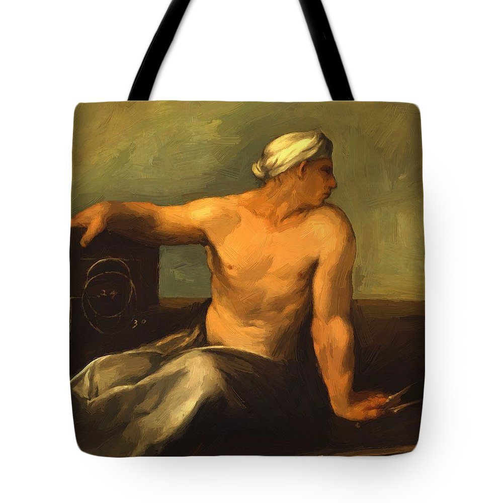 A Tote Bag featuring the painting A Personification Of Geometry by Dossi Dosso