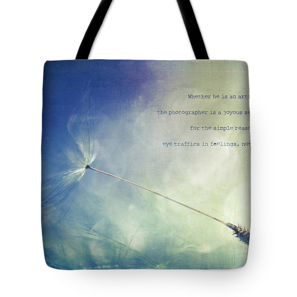 Dandelion Tote Bag featuring the photograph A Photographer's Eye by Joy Gerow