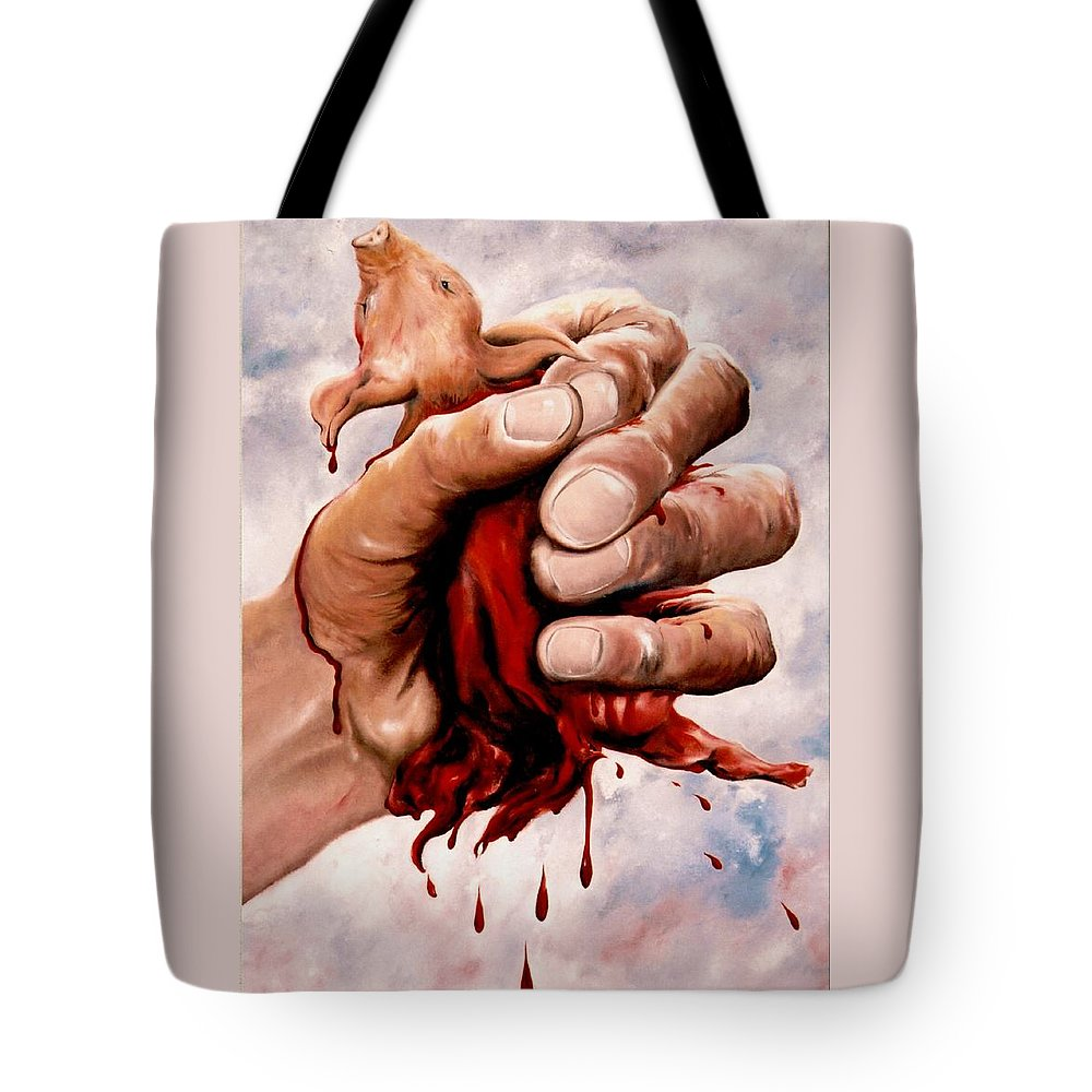 Surreal Tote Bag featuring the painting A Pigs Life by Mark Cawood
