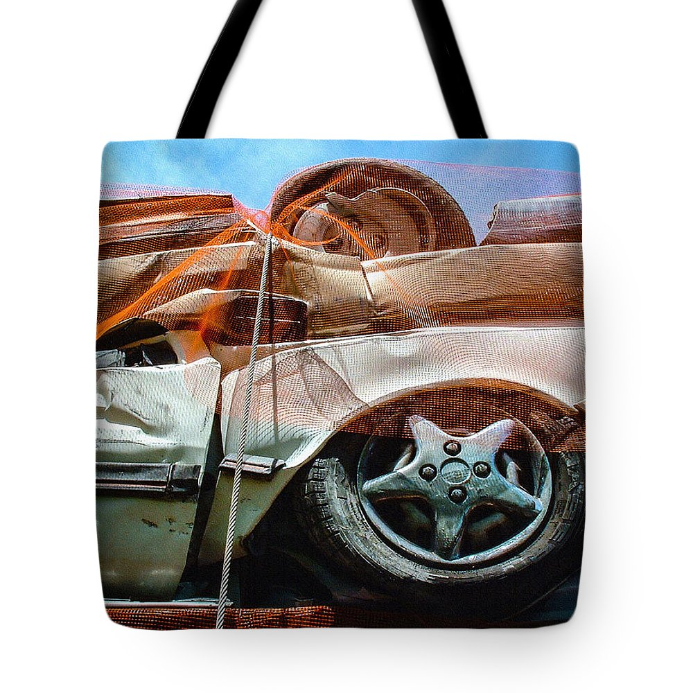 palm Springs Tote Bag featuring the photograph A Pile Of Tied And Netted Autos by Stan Magnan