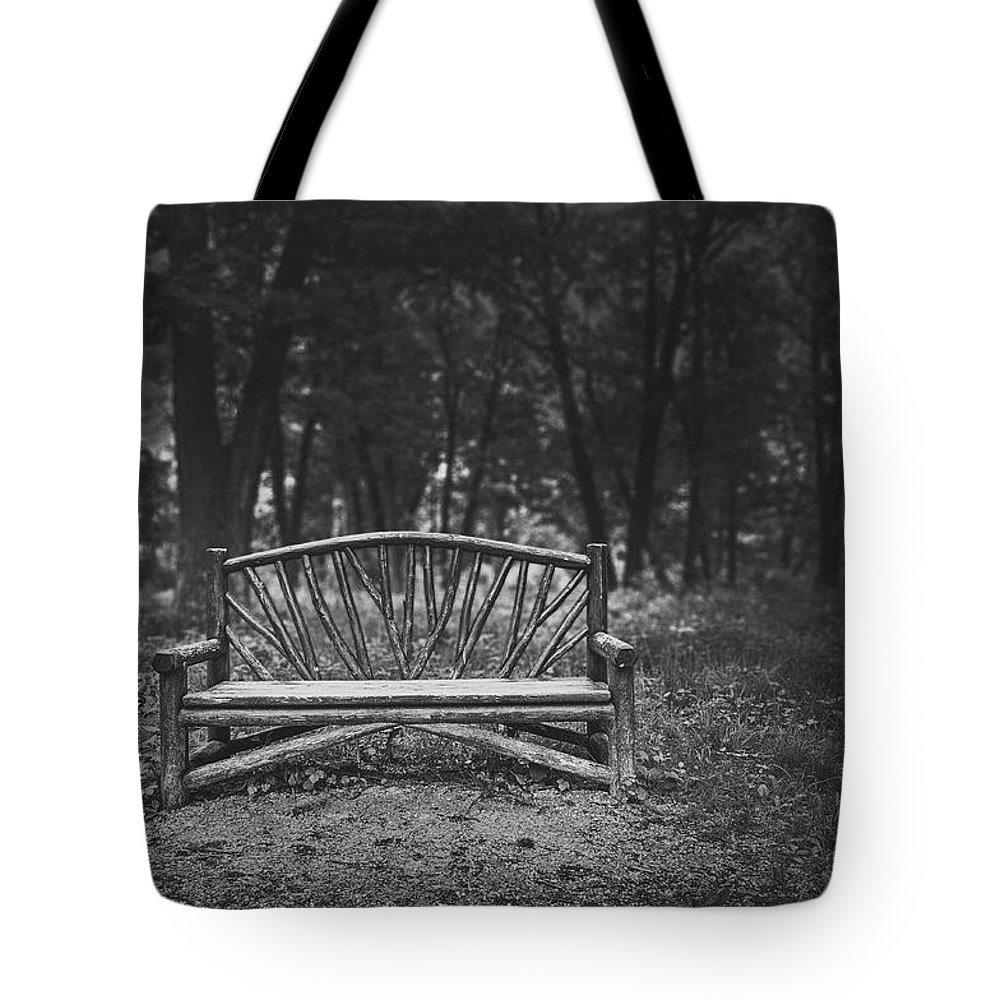 Wooden Bench Tote Bag featuring the photograph A Place to Sit 6 by Scott Norris