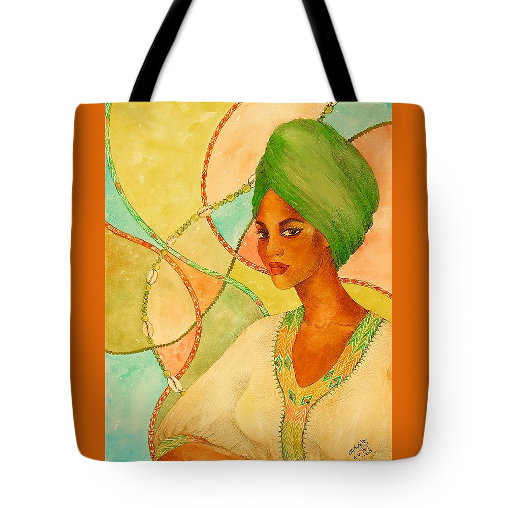 Mahlet Tote Bag featuring the painting A Portrait by Mahlet