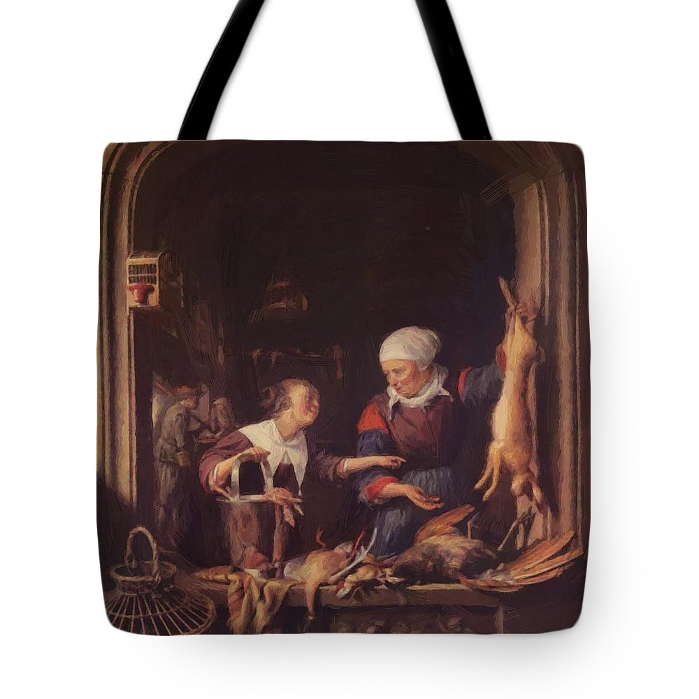 A Tote Bag featuring the painting A Poulterer Shop by Dou Gerrit