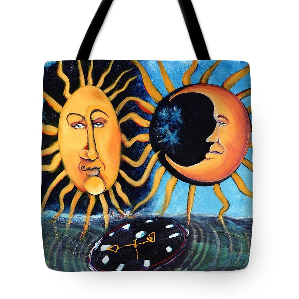 Sun Tote Bag featuring the painting A Quarter Til Becoming One by Dennis Tawes