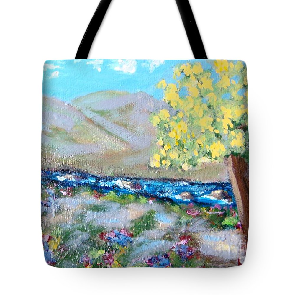 Landscapes Tote Bag featuring the painting A Quiet Place by Laurie Morgan