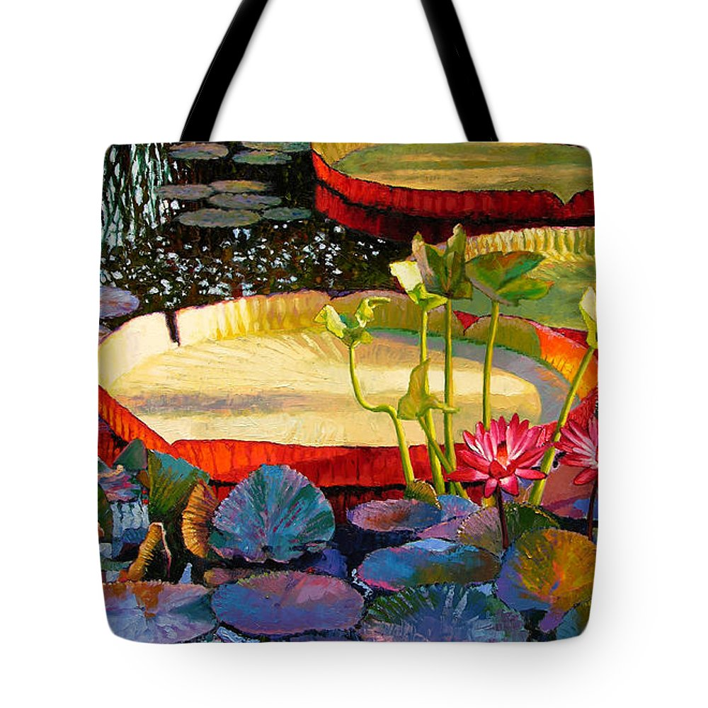 Garden Pond Tote Bag featuring the painting A Quiet Summer Morning by John Lautermilch