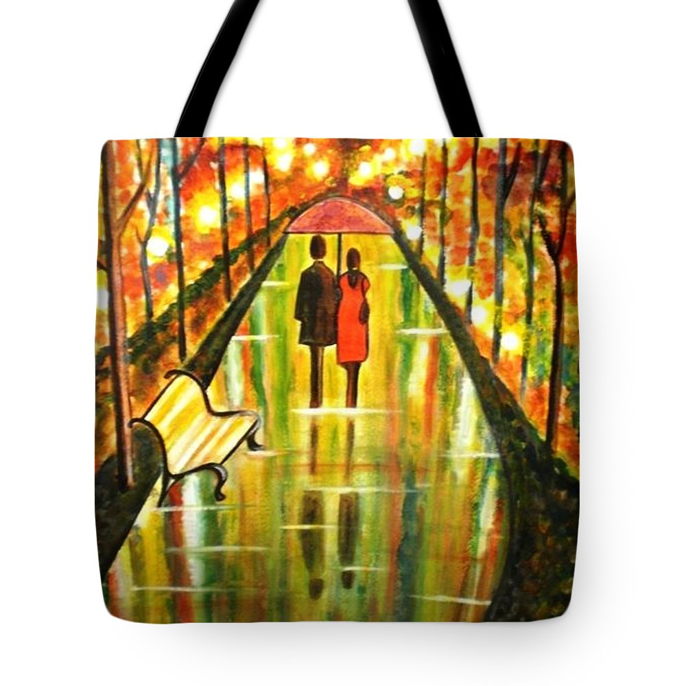 Romantic Painting Art Colorful Rainy Umbrella Bench Road Tote Bag featuring the painting A Rainy Day III by Manjiri Kanvinde