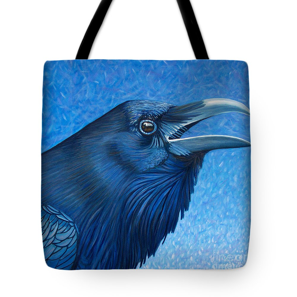 Raven Tote Bag featuring the painting A Raven's Prayer by Brian Commerford