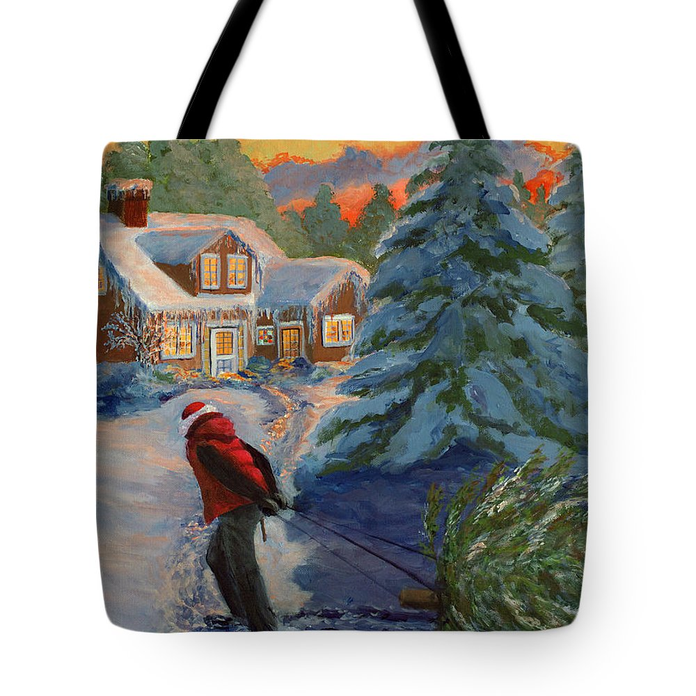 Christmas Tote Bag featuring the painting A Real Christmas Tree by Lorraine Vatcher