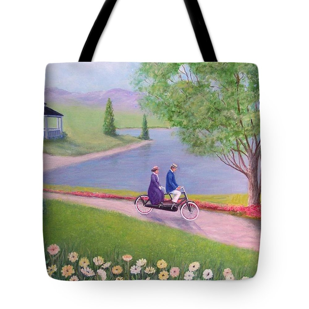 Landscape Tote Bag featuring the painting A Ride In The Park by William H RaVell III