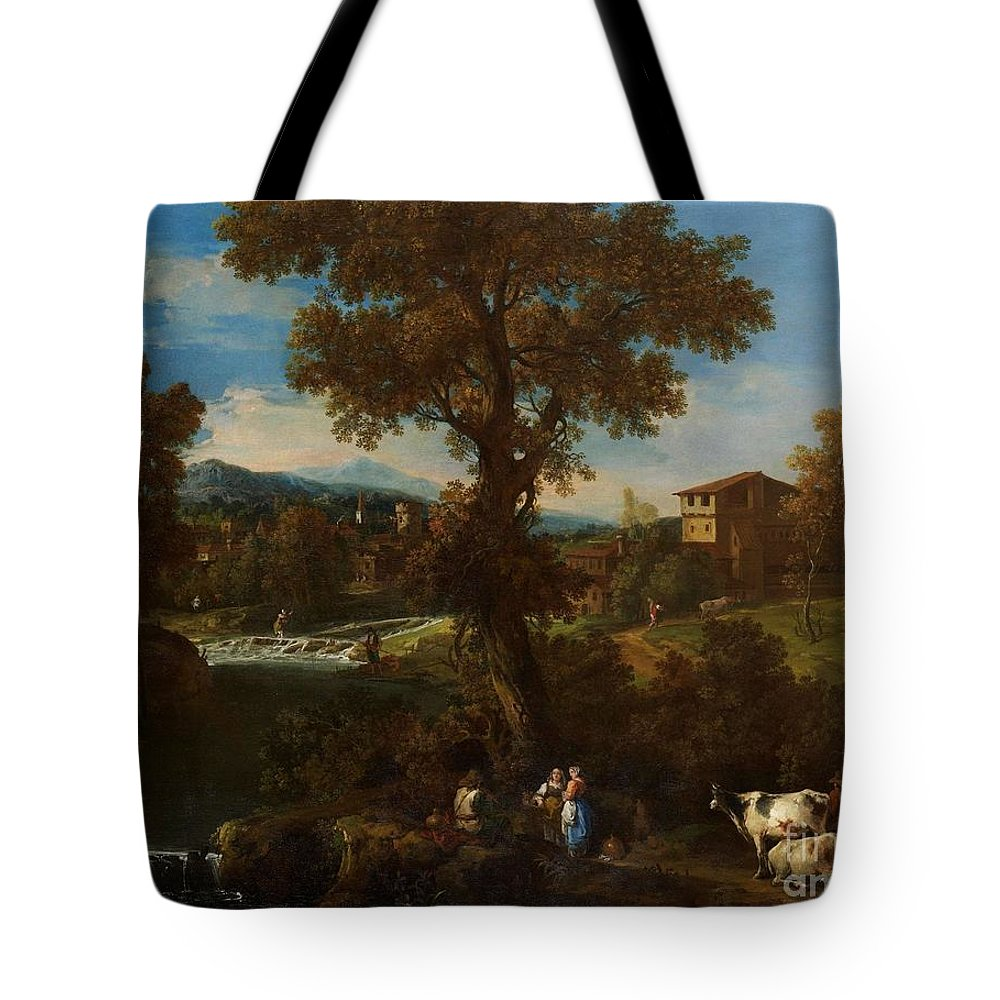 Guiseppe Zais (forno Di Canale 1709 - 1784 Treviso) Tote Bag featuring the painting A River Landscape by MotionAge Designs