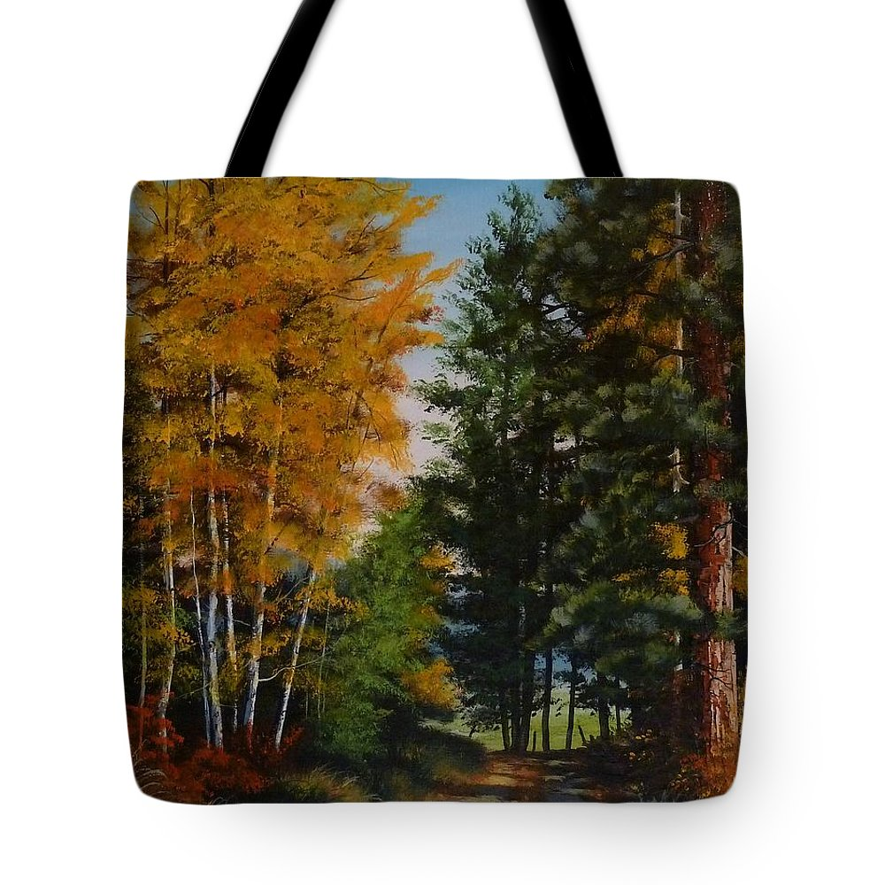 Autumn Tote Bag featuring the painting A Road Less Taken by Judy Bradley
