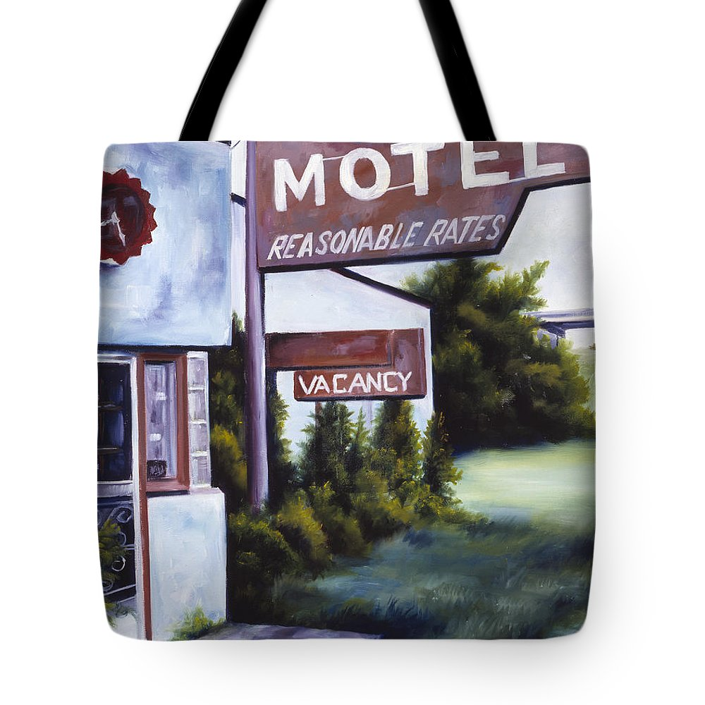Motel; Route 66; Desert; Abandoned; Delapidated; Lost; Highway; Route 66; Road; Vacancy; Run-down; Building; Old Signage; Nastalgia; Vintage; James Christopher Hill; Jameshillgallery.com; Foliage; Sky; Realism; Oils Tote Bag featuring the painting A Road Less Traveled by James Christopher Hill