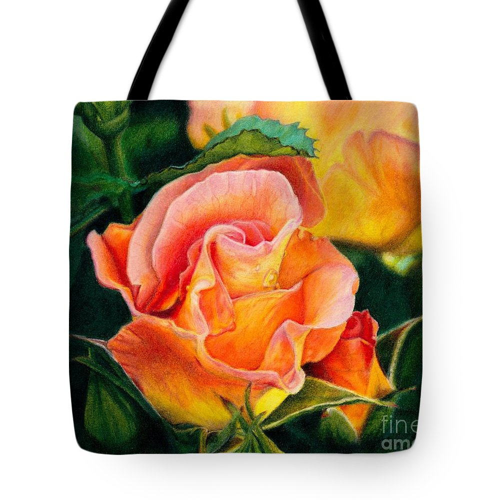 Coloured Pencil Tote Bag featuring the painting A Rose For Nan by Amanda Jensen