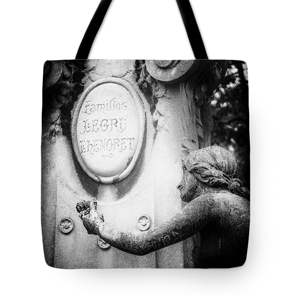 Cemetery Tote Bag featuring the photograph A Rose For The Offering. by Urbanmoon Photography