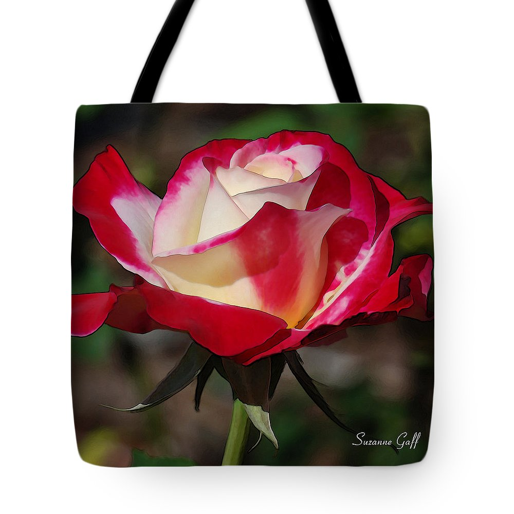 Red Tote Bag featuring the photograph A Rose Is A Rose II by Suzanne Gaff