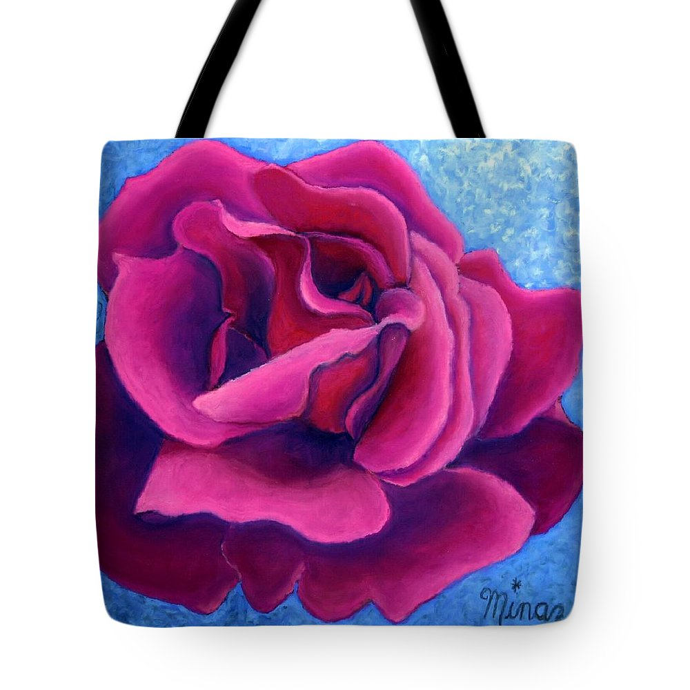 Rose. Pink Rose Tote Bag featuring the painting A Rose Is A Rose.. by Minaz Jantz