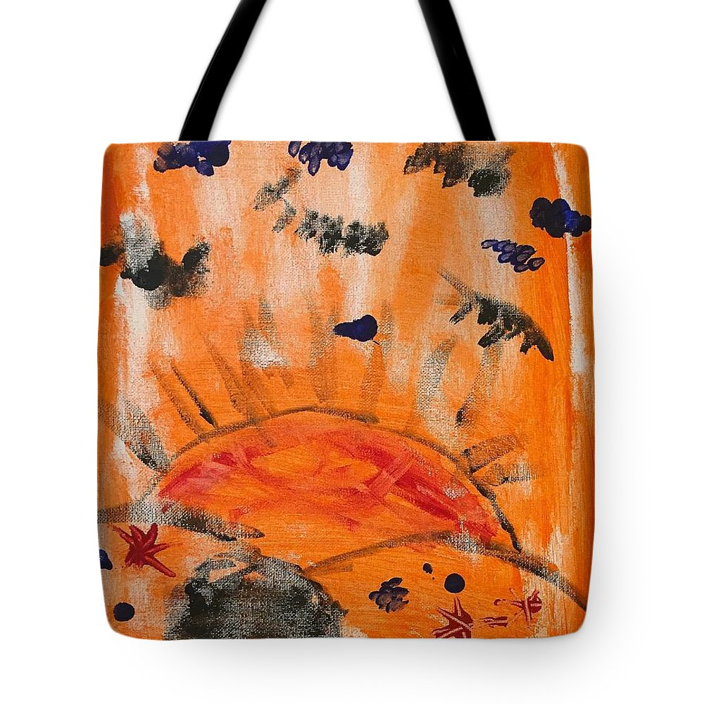 Abstract Tote Bag featuring the painting A Satisfying Sunset by Wonju Hulse