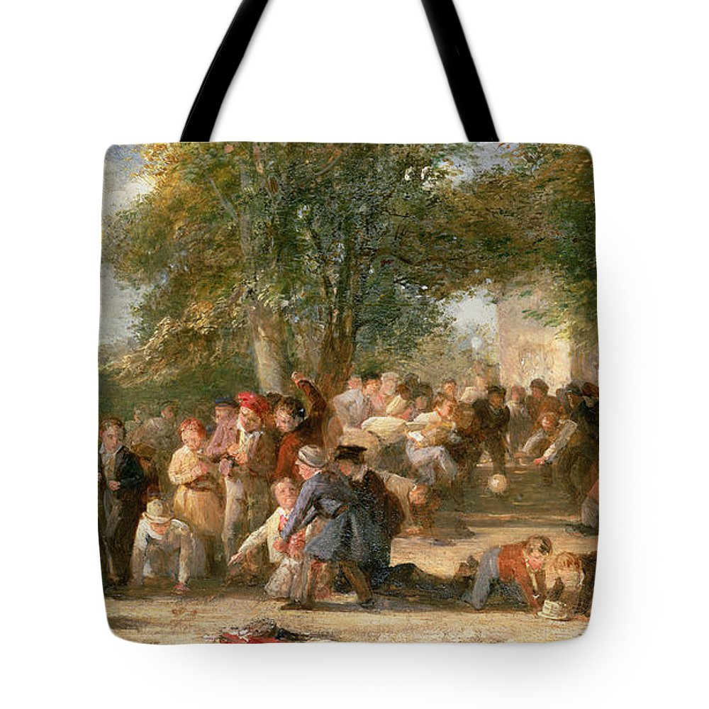 School Tote Bag featuring the painting A School Playground by Thomas Webster