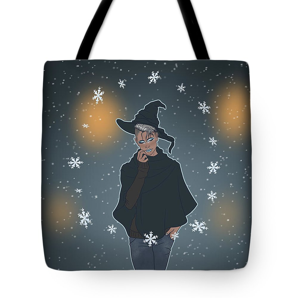 Sea Witch Tote Bag featuring the digital art A Sea Witch's Blessed Yule by Enaykin Art