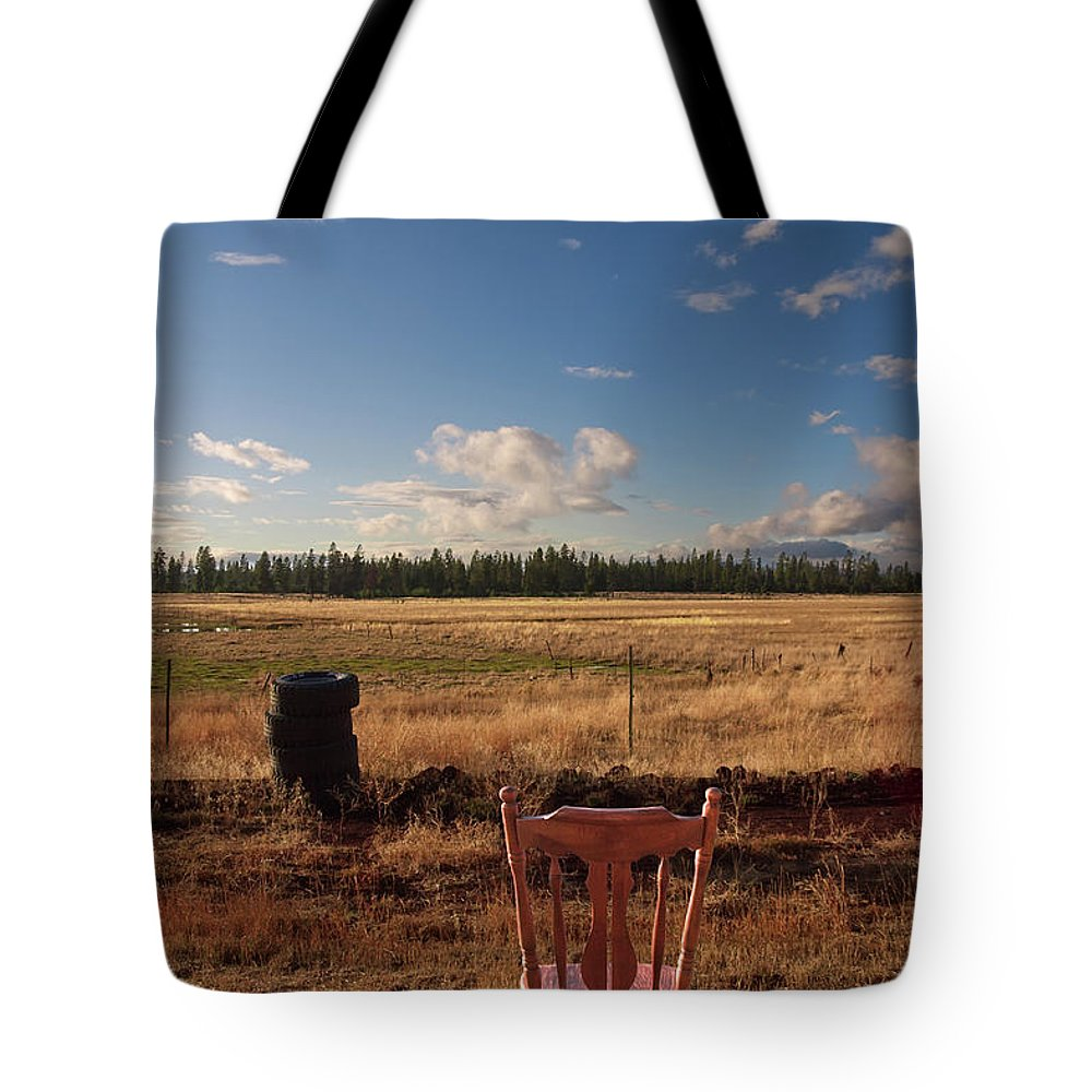 Chair Tote Bag featuring the photograph A Seat With A View by Grant Groberg