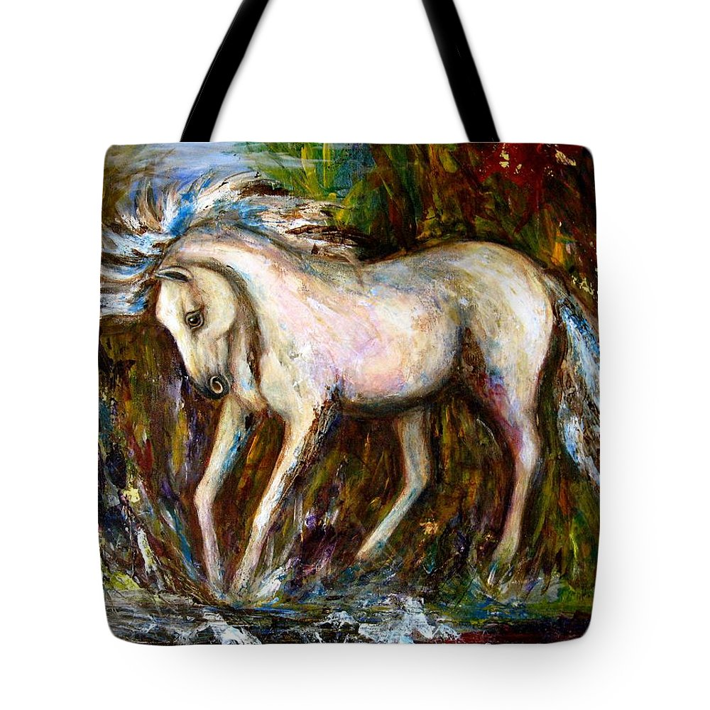 Horse Painting Tote Bag featuring the painting A Secret Place White Hores Painting by Frances Gillotti