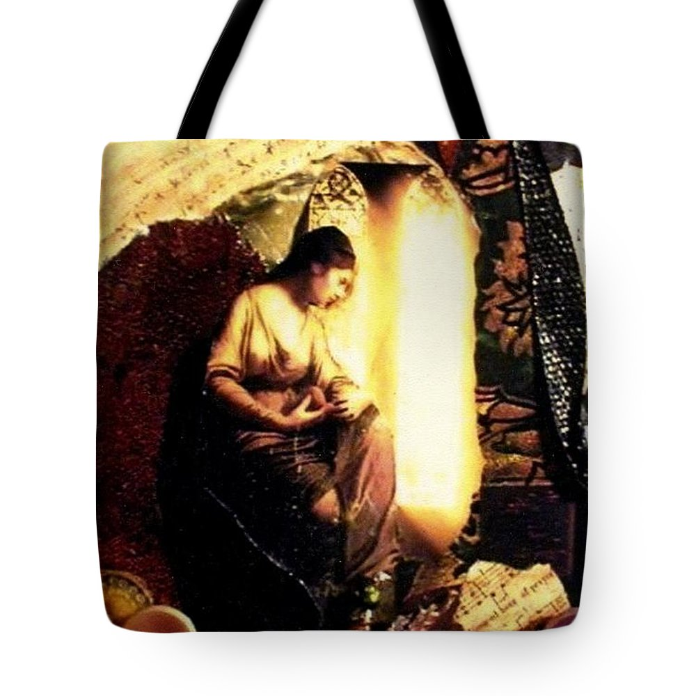 Mixed Media Tote Bag featuring the mixed media A Secret Place by Gail Kirtz