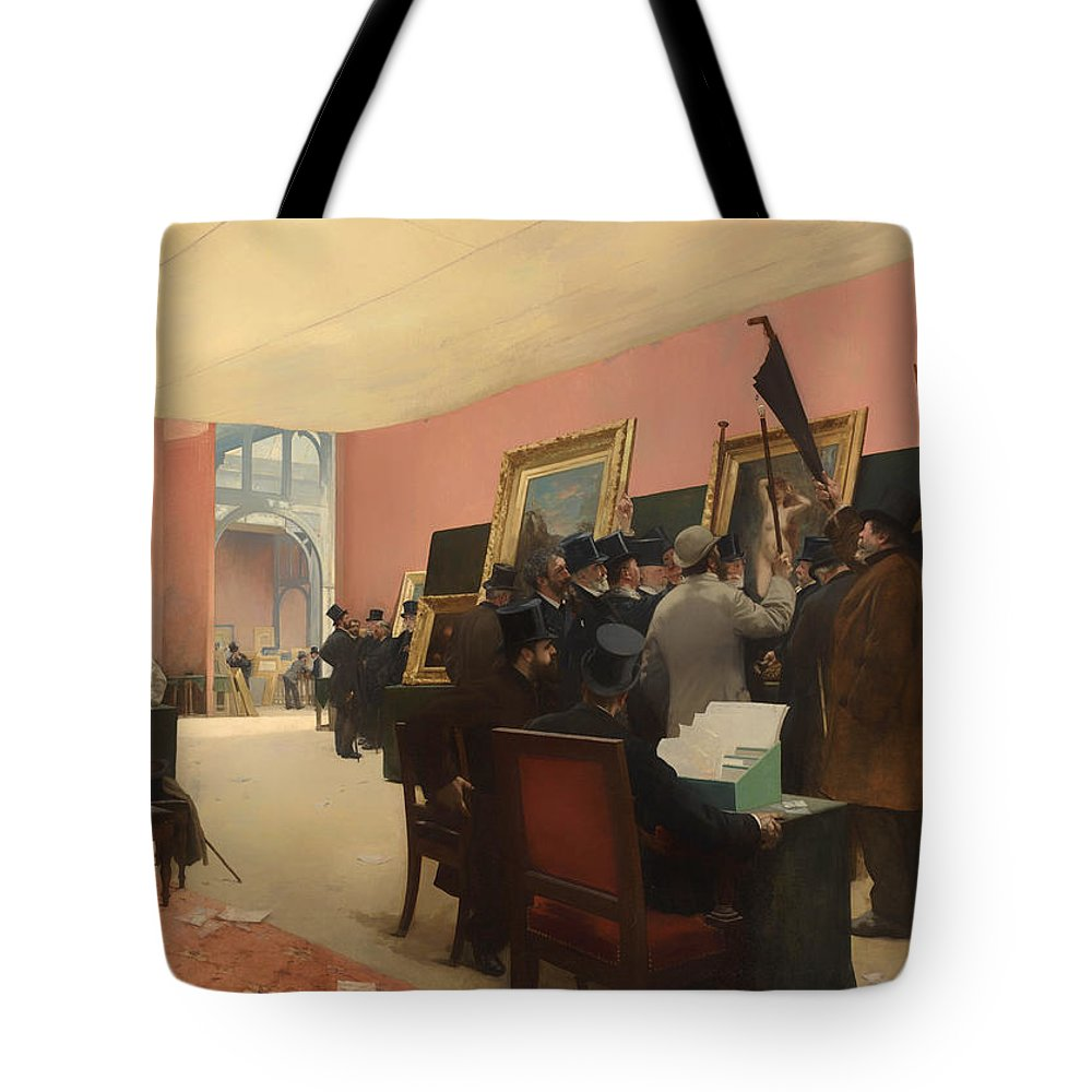 Painting Tote Bag featuring the painting A Session Of The Painting Jury by Mountain Dreams
