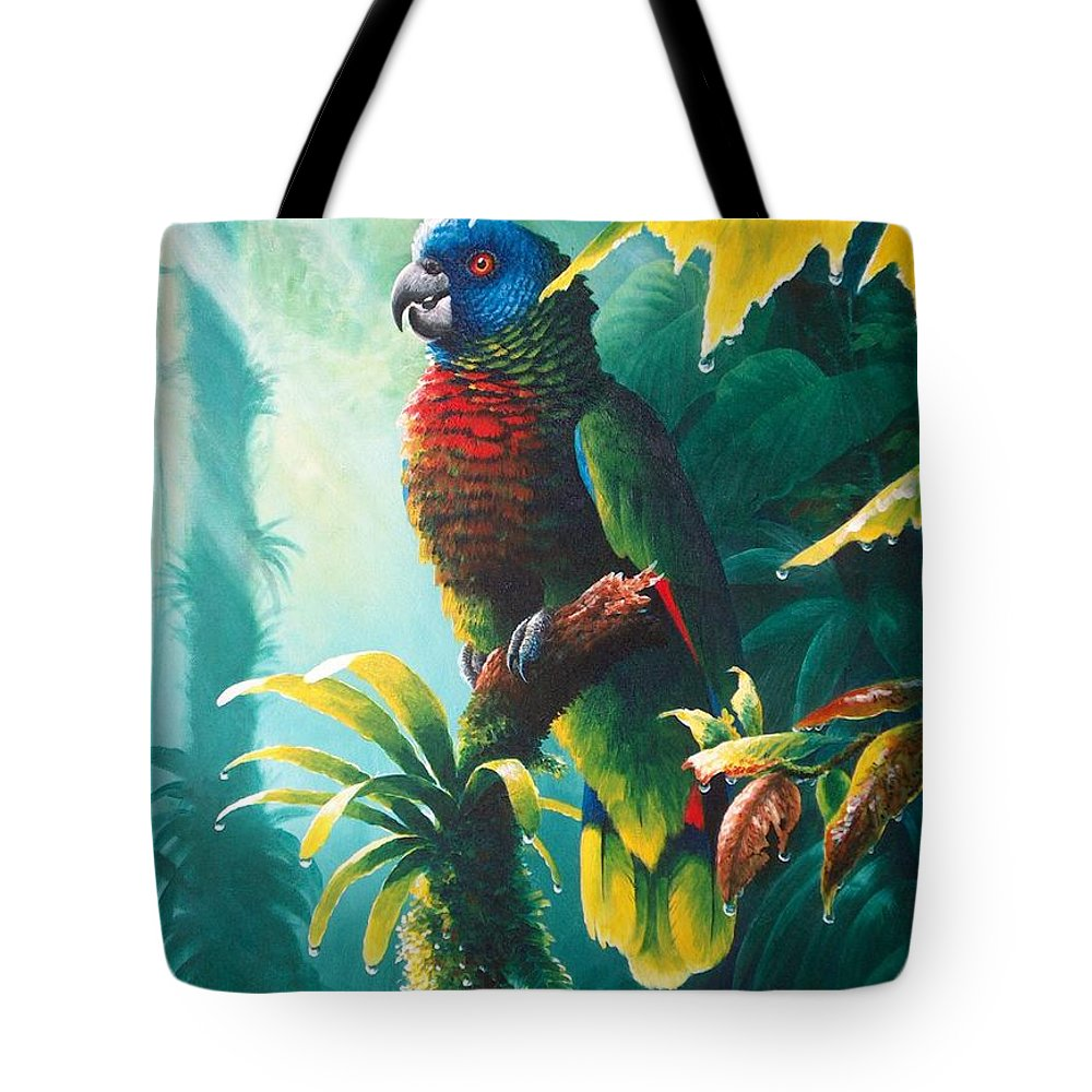 Chris Cox Tote Bag featuring the painting A Shady Spot - St. Lucia Parrot by Christopher Cox