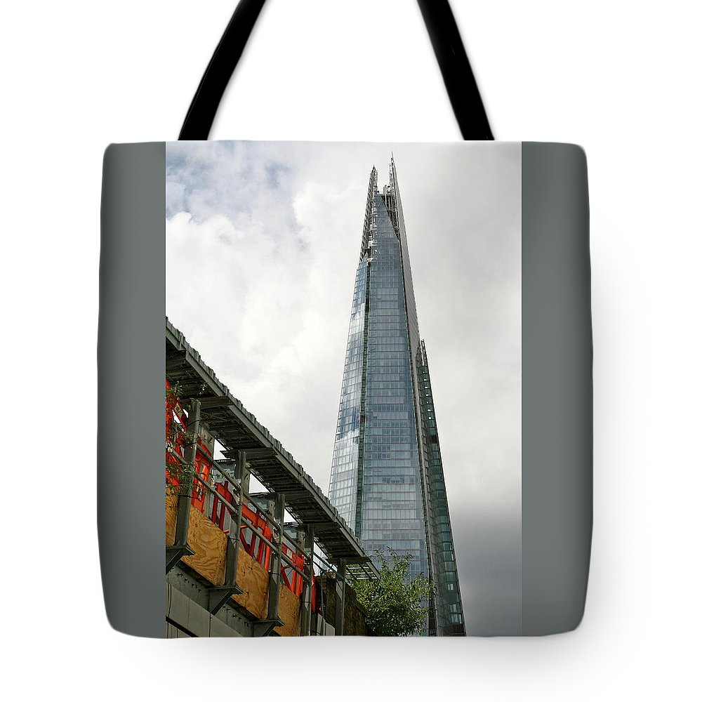 The Shard Tote Bag featuring the photograph A Shard Day's Night by Steve Swindells