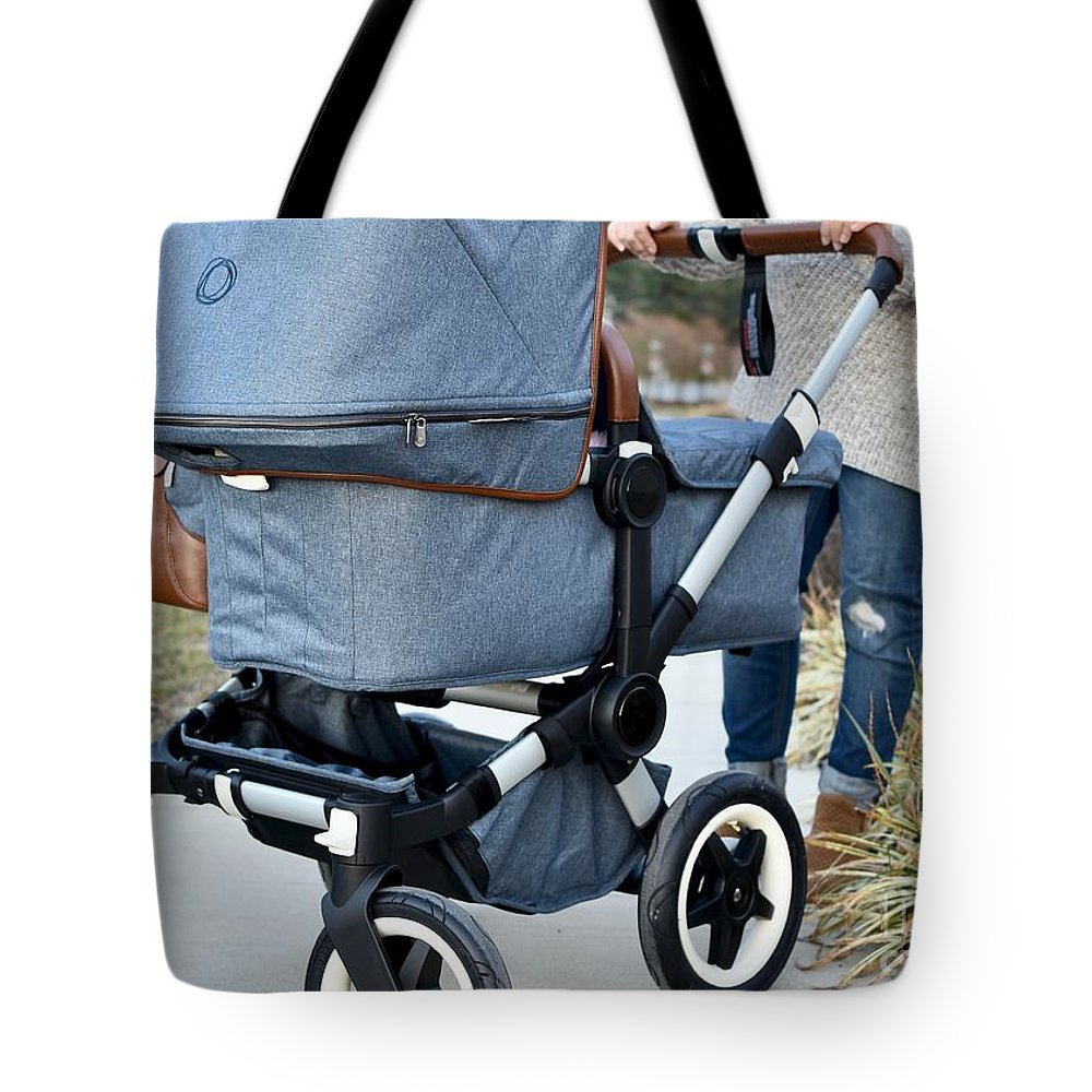 Mother And Stroller Tote Bag featuring the photograph A Simple Walk by Jeramey Lende