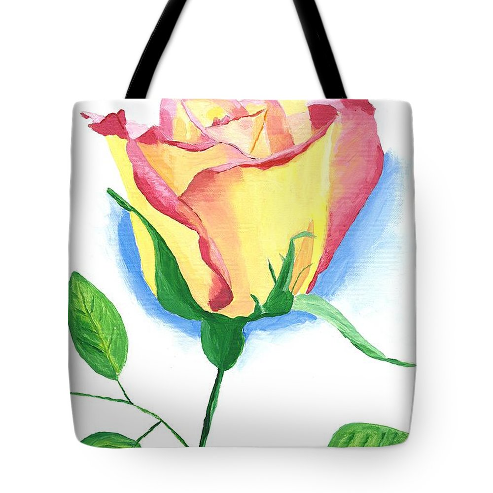 Rose Tote Bag featuring the painting A Single Rose by Rodney Campbell