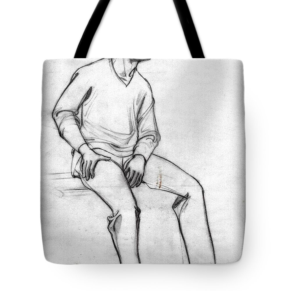 Tote bag featuring the drawing a sketch of a man sitting full figure from right front
