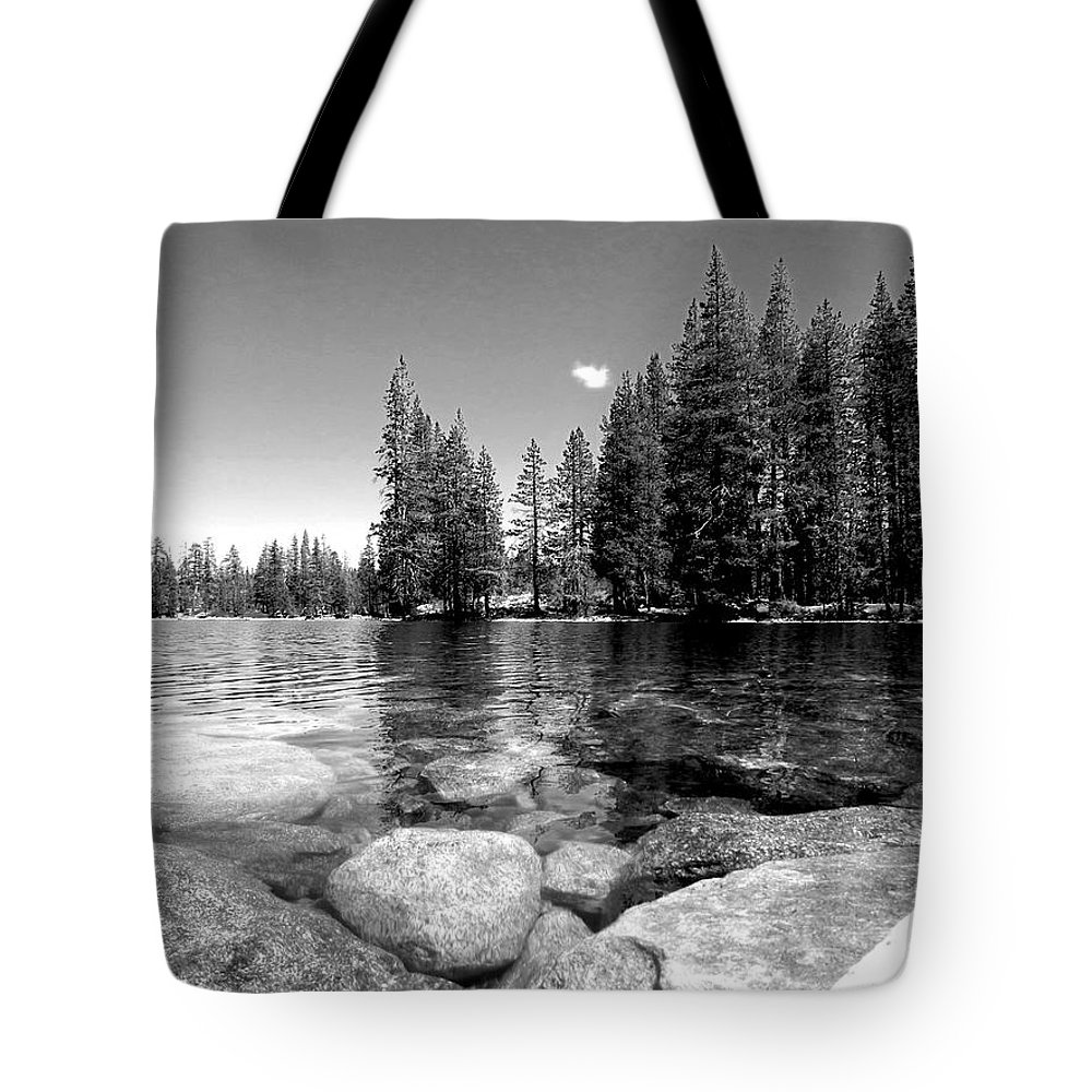 Trees Tote Bag featuring the photograph A Skipping Rock Away by Leah Moore