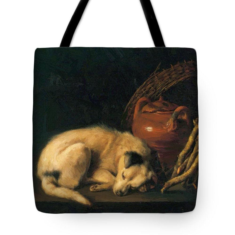 A Tote Bag featuring the painting A Sleeping Dog With Terracotta Pot 1650 by Dou Gerrit
