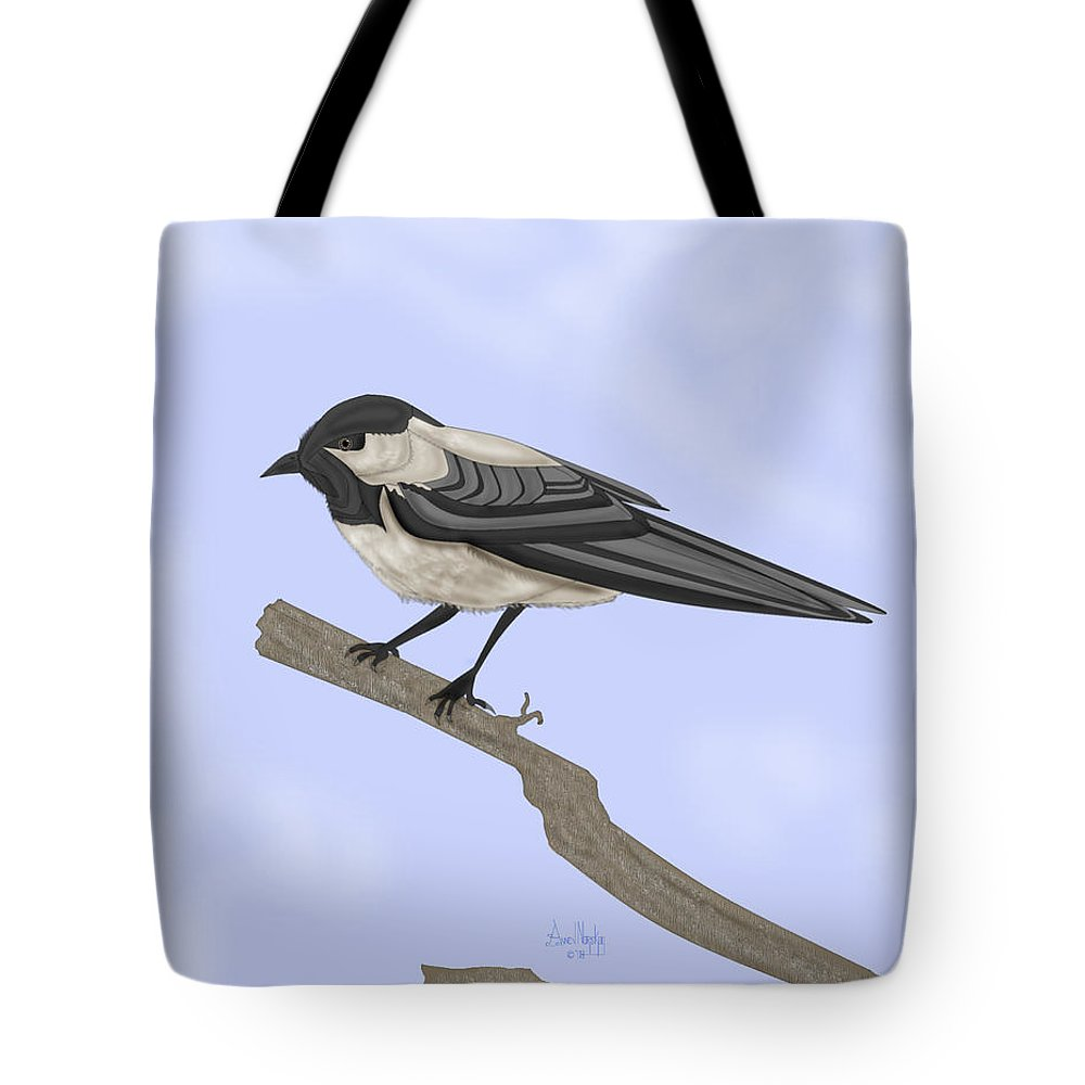 Bird Tote Bag featuring the painting A Small Guest by Anne Norskog