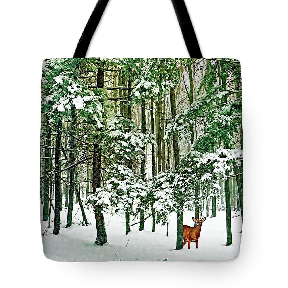 Deer Tote Bag featuring the photograph A Snowy Day by Steve Harrington