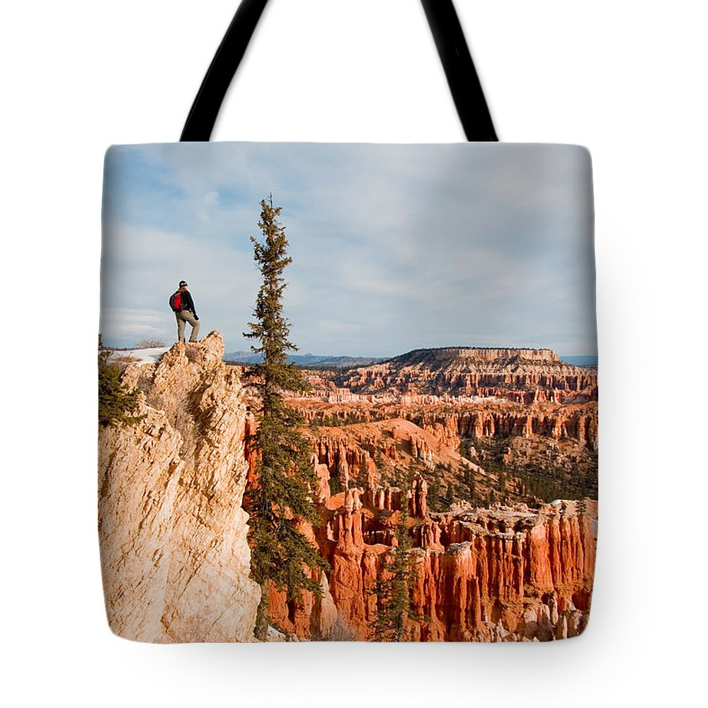 Utah Tote Bag featuring the photograph A Solitary Hiker Looks by Taylor S. Kennedy