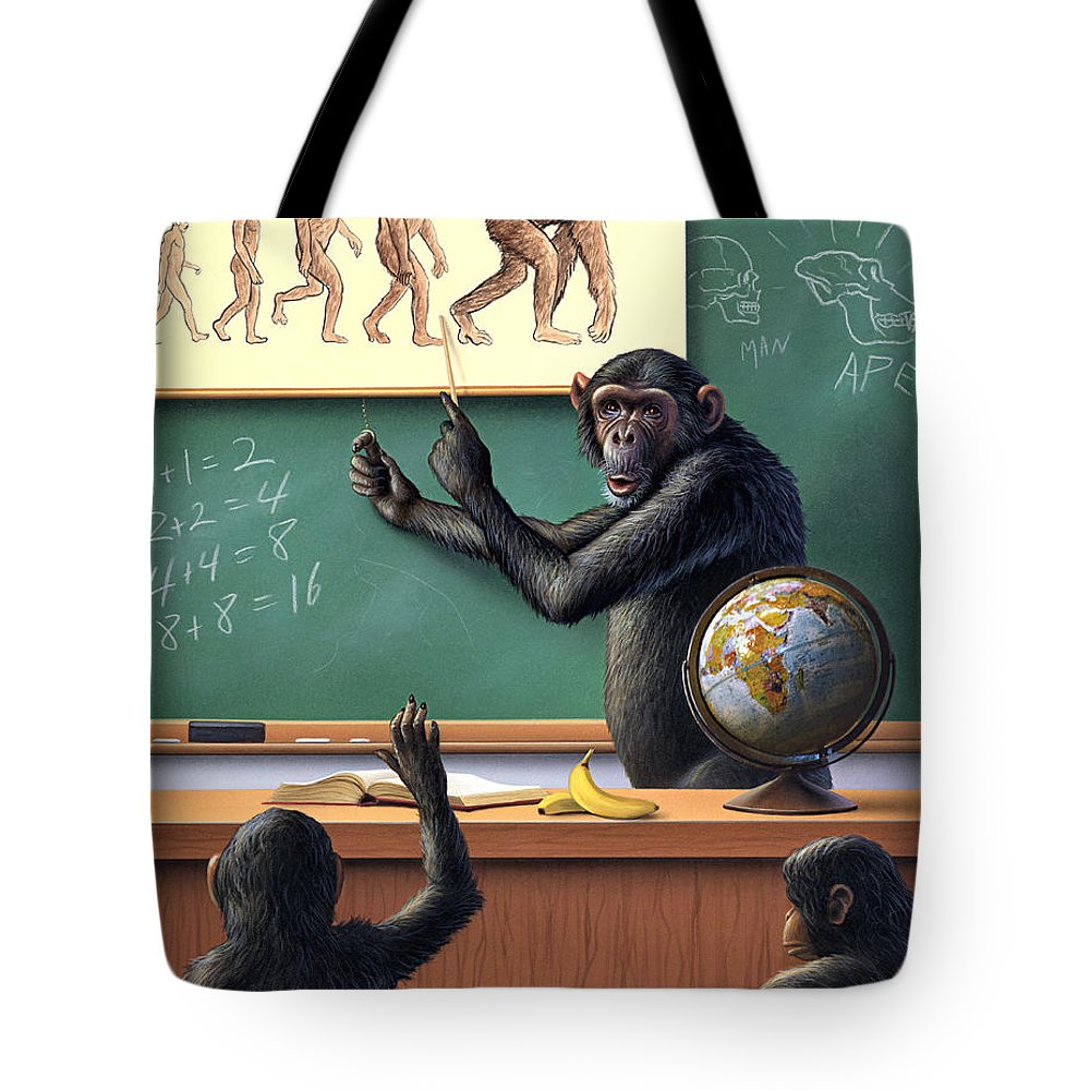 Darwin Tote Bag featuring the painting A Specious Origin by Jerry LoFaro