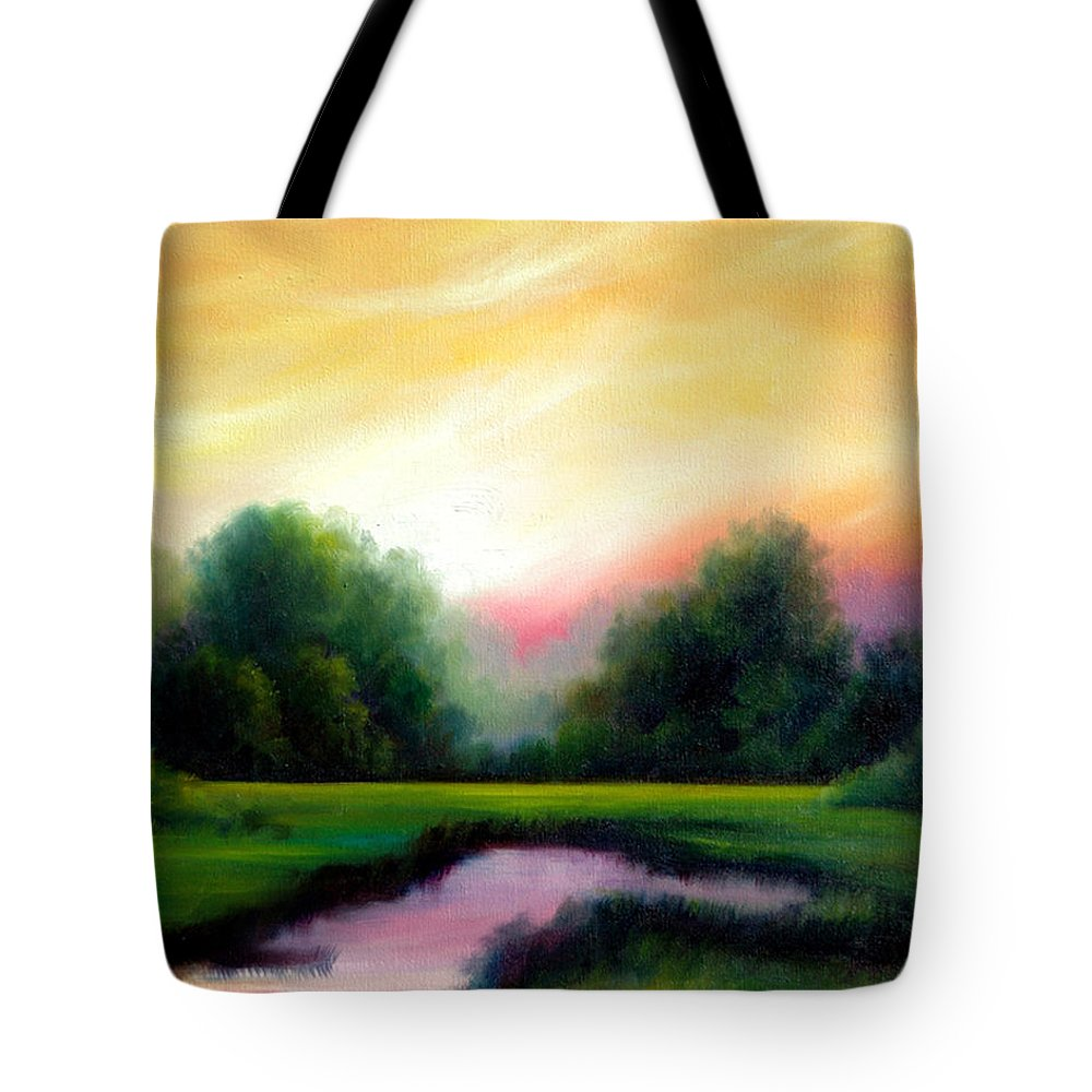 Clouds Tote Bag featuring the painting A Spring Evening by James Christopher Hill